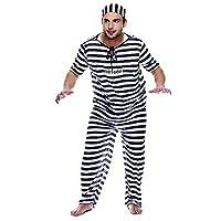 Divertente costume da carcerato per Carnevale e feste in maschera, adatto agli adulti. Il costume è composto da pantaloni, maglietta a manica corta e cappello a cuffia elastico, con righe bianche e nere. Sulla parte frontale è stampato un num...