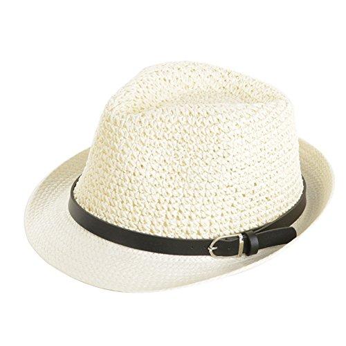 DNSJB Western Cowboy Freizeit Strohhut Herren Sommer Outdoor Sports Schatten Sonnencreme Sonnenhut Strand Cool Hut,Atmungsaktiv (Farbe : Weiß)
