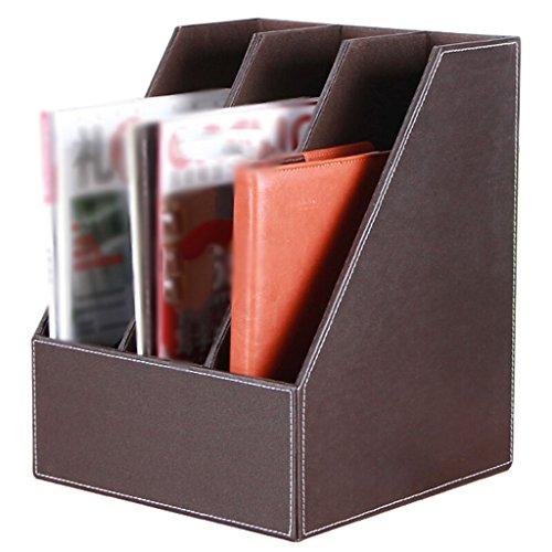 Archivo Rack Escritorio Archivo Libro Stand 34.5 * 27 * 27 Cm Almacenamiento Rack Files Rack Suministros de oficina ( Color : Marrón )