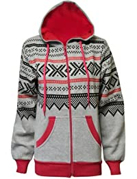 NEW WOMENS LADIES HOODIES AZTEC PRINT GIRLS HOODED ZIP UP SWEATSHIRT JACKET HOODIE HOODY TOP BLACK GREY CHARCOAL NAVY BABY PINK ROYAL BLUE CREAM WINE DENIM BLUE SIZE 8 10 12 14 (S/M(8-10), Grey)