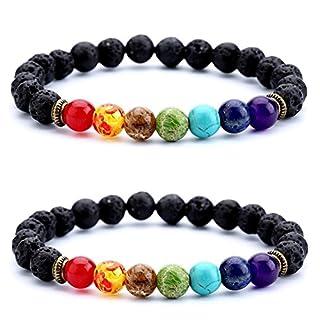 Männer Frauen 8mm 10mm Lava Rock Chakra Perlen Stretch Armband Geflochtenen Seil Stein Achat Armband Armreif (8mm Vulkanstein Stretch Armband)