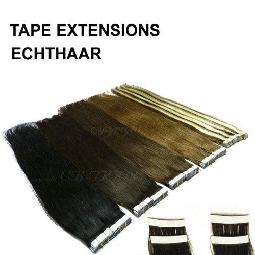 40 Extensions à bandes adhésives - Vrais Cheveux- 40 cm 80 g pour collage, Color:Blond clair