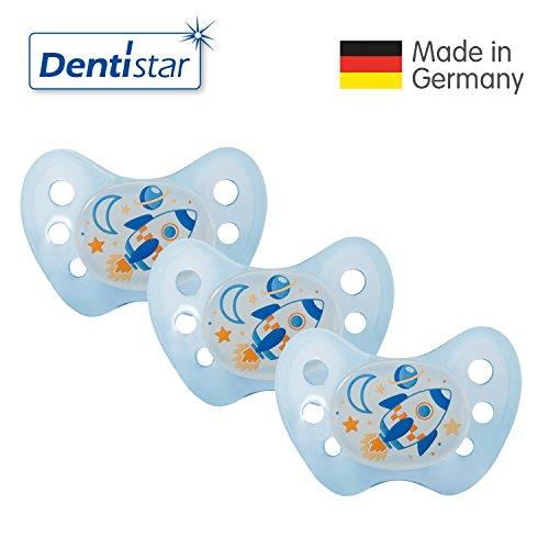 Preisvergleich Produktbild Dentistar® 3er Set Night Silikon-Schnuller - Größe 2, 6-14 Monate – Nacht-Leuchtschnuller, Nuckel leuchtend, Zahnfreundlich, Rakete blau