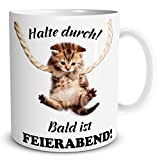 TRIOSK Tasse Katze Halte durch, lustiges Geschenk Arbeit Büro Freundin Freunde Kollegen, Weiß Beige Bunt, 300 ml