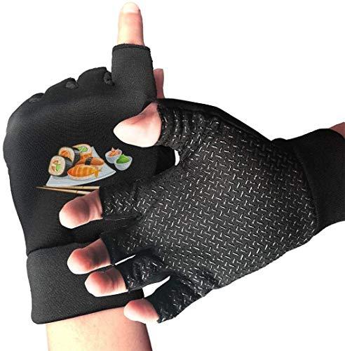 Licht Saber DUN Griffige Half Finger Radfahren Handschuhe Sushi Drucken Übung Handschuhe für Gym Gewichtheben Trainings Fitn Biking