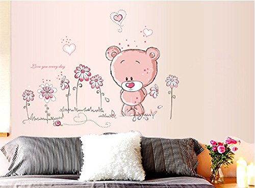 Walplus - adesivi da parete con orsacchiotto per decorare la cameretta dei bimbi, 50 x 70 cm