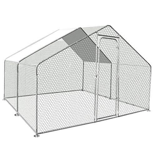 IDMarket - Enclos poulailler 9M² Parc grillagé 3x3M Acier galvanisé