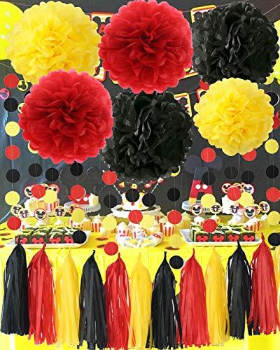 (Mickey Mouse Party Supplies Gelb Schwarz Rot Mickey Mouse Geburtstag Dekorationen/Tissue-Papier Pom Pom Quaste Garland Mickey Garland Baby-Dusche-Dekorationen)