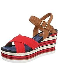 Ital-Design Zapatos Para Mujer Sandalias de Vestir Plano Sandalias con Plataforma