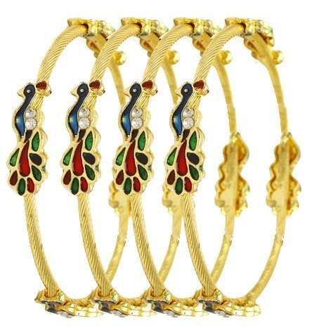 Jewels Galaxy Elegant Gold Plated Mayur Bangles For Women