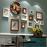 JH Fotorahmen Kollage Groß Foto-Wand-Hölzernes Foto-Wand-europäisches Wohnzimmer-Restaurant-Foto-Rahmen-Wand Einfache Kreative Kreative Foto-Rahmen-Wand Stummschalten der Uhr (Color : B)