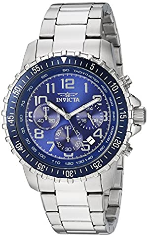 Invicta Men's Specialty Quartz Watch with Blue Dial Chronograph Display and Silver Stainless Steel Bracelet 6621