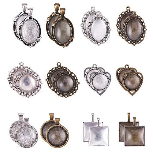 Bronze-sechs Leichte Runde Anhänger (PandaHall Elite - 24 Sets 6 Stile Legierung Anhänger Halter und Glas Cabochons für Schmuckherstellung, antike Bronze und Antik Silber)