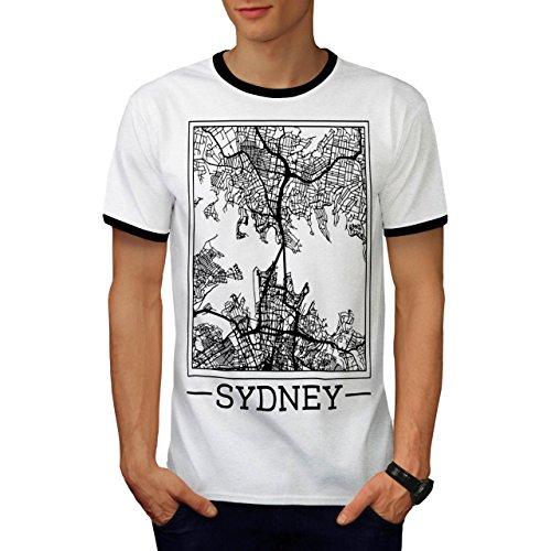 Australien Sydney Karte Groß Stadt Herren M Ringer T-shirt | (Billig Kostüme Sydney)