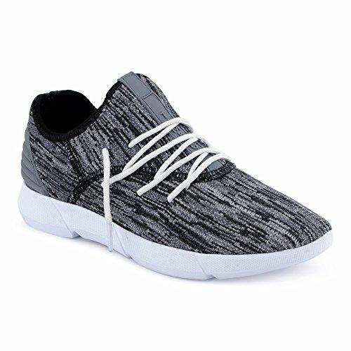 FiveSix Herren Sneaker Sportschuhe Laufschuhe Freizeitschuhe Textilschuhe Mehrfarbig Schnürschuhe Low-Top Schuhe Schwarz/Grau/Weiss EU 41 Jeezy Schuhe