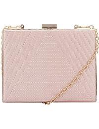 bc56fb60515a Claudia Canova Womens Square Clasp Top Clutch Clutch Pink (Dusky Pink)