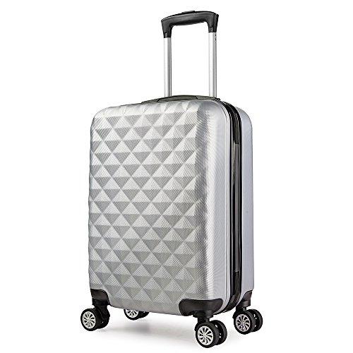Valise cabine 55 cm ABS bagage cabine rigide 4 roues avion ryanair 4 couleurs 40L(Gris)