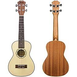 Mugig Ukulele Instrumento de Concierto 23 Pulgadas 4 Cuerdas de Nivel de Entrada(Tapa de Pícea y Fondo y Aros de Caoba)