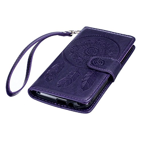 Etui HTC One , Anfire Attrape Reve et Feuille Motif Peint Mode PU Cuir Étui Coque HTC One M8 (5.0 pouces) Housse de Protection Luxe Style Livre Pochette Étui Folio Rabat Magnétique Coque Couverture po Violet