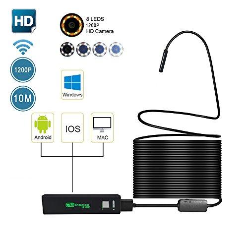 Preisvergleich Produktbild WIFI Endoskop, Umiwe Halbsteife Wasserdichte 1200HD Wifi Endoskope-Inspektions Kamera 2.0 Megapixel CMOS-Schlange-Kamera mit 8 justierbaren LED-Lichtern für Android, IOS, Windows and PC System (Schwarz-10m)