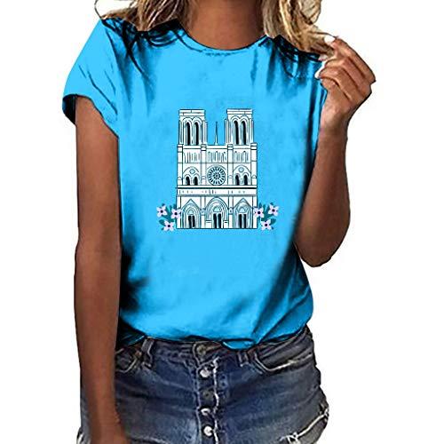 UYSDF Damen Notre Dame de Paris Drucken Tees Oansatz Kurzarm T-Shirt Bluse Tops 2019