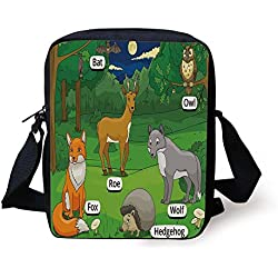 FFLISHD Educational,Forest with Cartoon Animals with Names Educational Intellectual Fun Kids Game Decorative,Multicolor Print Kids Crossbody Messenger Bag Purse