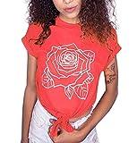 ZEZKT Elegant Damen Sommer T-Shirt Casual Tank Kurz Blusen Oberteile Rose Printed Schulterfrei Stickerei Loose T-Shirts Rundhals Tunika Lace Up Hemd Top Oversize Oberteil Große Größen