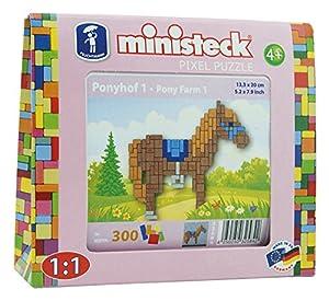 Ministeck 32584-Pony, steckplatte, Accesorios, Aprox. 300de Piezas, Color marrón