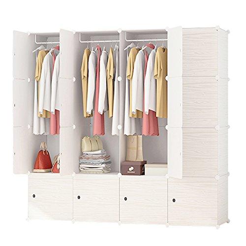 ETTBJA Armario Modular para Almacenaje de Ropa, Zapatos, Juguetes o Libros. Blanco por dentro y Patrón en estilo Madera clara en la parte Exterior (16 Cubos con 3 Barras para Perchas)