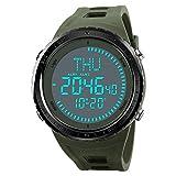 Neuer Kompass Herren-Armbanduhr Digitale Sport-Armbanduhr mit großem Zifferblatt mit LED-Armee-Armbanduhr Wasserdicht toßfest Armee Grün Armbanduhr