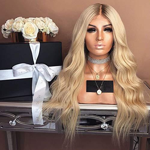 BT-WIGIG Damen Frauen Perücke Lange lockige Haar Wig Omber Blond Schwarz für Cosplay Karneval oder Party Fasching Kostüm Glamourös Haarteil (Glamourös Kostüm)