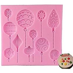 Vivin bolas de Navidad–molde de silicona para decoración de dulces Cupcakes Sugarcraft dulces Pearl Fondant pasta Bead Decoración Color en al azar 4pulgadas