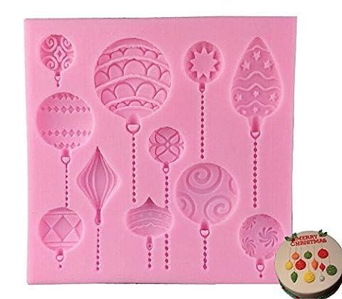 Vivin Boules de Noël gâteau moule à gâteau en silicone pour décorer vos cupcakes et gâteaux bonbons en perle Fondant Pâte Décoration couleur en aléatoire