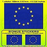 Europa Europäische Union Flagge EU 10,2cm (100mm) Vinyl Bumper Aufkleber, Aufkleber X1+ 2Bonus