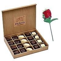 De'Arco Chocolatier Chocolates Valentine Day Gift for Girlfriend Boyfriend Husband Wife, Premium Luxury Chocolates, 20pcs + Free Rose