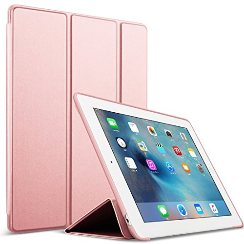 GOOJODOQ iPad 2/3/4 Hülle, PU Leder Etui Hülle Tasche mit Ständer Funktion und Eingebautem Magnet für Einschlaf/Aufwach Shockproof Silikon Weicher TPU Folio Hülle für Apple iPad 2/3/4(Rose Gold)