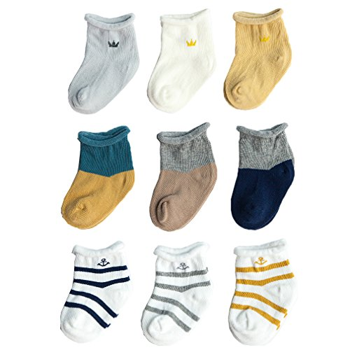 Z-Chen 9er Pack Baby Baumwolle Socken, 0-6 monate, Set 1