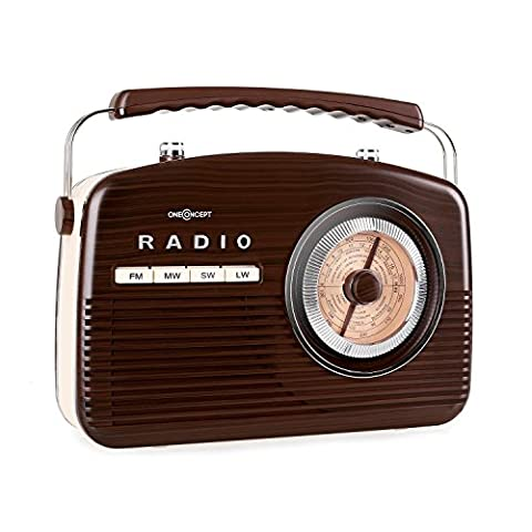 oneConcept NR-12 Retro Radio 50s Portable Radio AM/FM Classic Rockabilly Possible Battery Operation Fully Mobile with Carrying Handle Beach Vintage (4-Band Radio, Round Frequency Display, Ergonomic Handle & Easy to Transport) Dark Brown