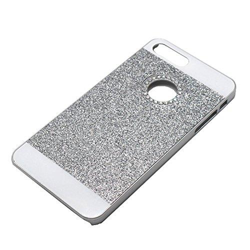 Handy Case für Apple iPhone 5 5s SE |SCHWARZ |Bling Hart Strass Kunststoff Plastik Glitzer Schutz Hülle Silber