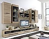 Wohnwand Anbauwand Wohnzimmerschrank 6-tlg. SASHA 21 | Schwarz | Eiche sägerau | LED-Beleuchtung