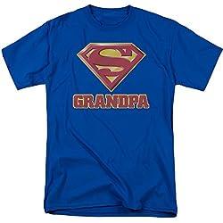 2Bhip Superman DC Comics Super abuelo Classic S Shield Logo Royal azul adulto camiseta - Azul -