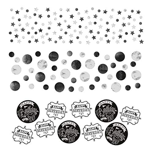 PARTY DISCOUNT® Konfetti Black & White Birthday, 34 g (Black White-parties Dekorationen And)