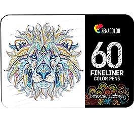 60 Penne Colorate Punta Fine Zenacolor – 60 Colori Unici 0.4mm – Ideali per i Mandala pe