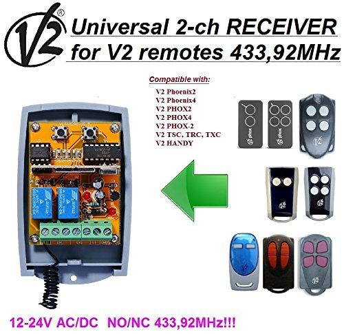 Preisvergleich Produktbild V2 kompatibel. Universeller 2-Kanal-Empfänger für V2 Phoenix,  PHOX,  Handy,  TSC,  TRC,  TXC Sender 12-24V AC / DC