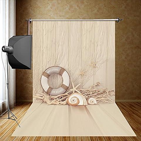 fivantm-en 5x 2,4m (150x 250cm) Khaki und Boje Fotografie Conch Sommer Thema Hintergrund Kind Fotografie Requisiten Seidentuch Fotografie Nachahmung (250 Thema)