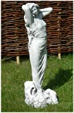 Skulptur junge Frau | grau patiniert | Als Wasserspeier aus Beton | Höhe 68 cm | Gartendeko | Figur Frau | Gartendeko | Garten Deko | Garten Figur | Gartenfigur | Gartenskulptur