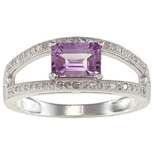 Sterling Argento Split Shank pavé di diamanti e ametista anello (1/3TDW), argento, 57 (18.1), cod. R0448GRAM-sz8