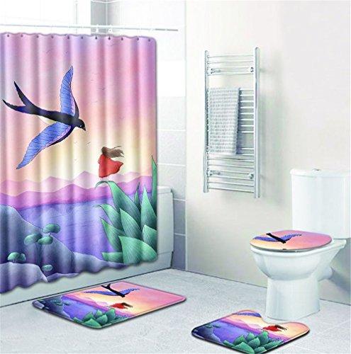 Duschvorhang-Matte Kombination vierteiliger Anzug, WC-Toilette Teppich Dusche Matte Tischset, WC-Matte, Zwei Stile