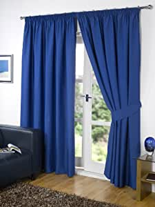 """Pair of BLUE 46"""" Width x 54"""" Drop , Supersoft Thermal BLACKOUT Curtains INCLUDING PAIR OF MATCHING TIE BACKS, 'Winter Warm but Summer Cool' by VICEROY BEDDING"""