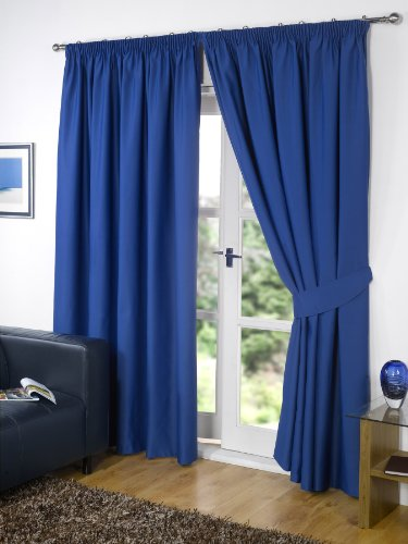 "Pair of BLUE 66"" Width x 72"" Drop , Supersoft Thermal BLACKOUT Curtains Bedroom Curtain Readymade INCLUDING PAIR OF MATCHING TIE BACKS, 'Winter Warm but Summer Cool' by VICEROY BEDDING"